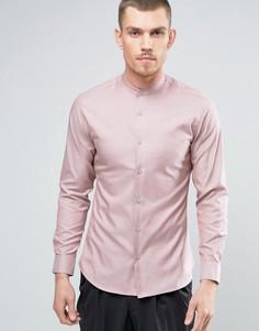 Приталенная рубашка с горловиной на пуговице Selected Homme - Розовый