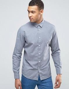 Узкая фактурная рубашка Selected Homme - Синий