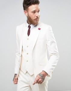 Кремовый приталенный пиджак с бордовым цветком на лацкане Devils Advocate Wedding - Кремовый