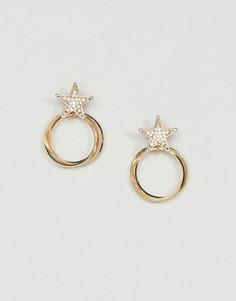 Серьги-кольца со звездочками ASOS - Золотой