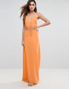 Платье макси с кружевной вставкой Jarlo - Оранжевый