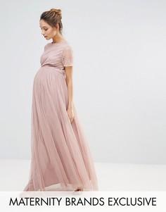 Платье макси с юбкой из тюля и декорированным лифом Maya Maternity - Розовый