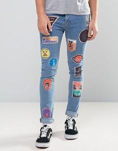Супероблегающие джинсы с нашивками ASOS - Синий
