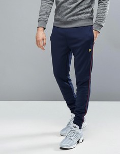Темно-синие узкие спортивные штаны с контрастной отделкой Lyle & Scott Fitness Dean - Темно-синий