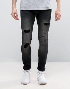 Эластичные супероблегающие джинсы с заплатками Religion - Черный