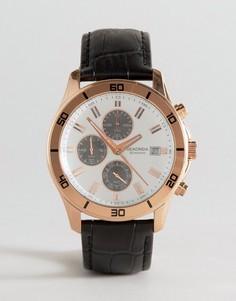 Часы с кожаным ремешком и хронографом Sekonda эксклюзивно для ASOS - Черный