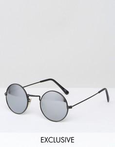 Солнцезащитные очки в круглой оправе с зеркальными стеклами Reclaimed Vintage - Черный