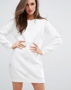 Платье-джемпер с кольцами Missguided - Кремовый