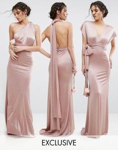Блестящее платье-трансформер макси TFNC WEDDING - Розовый