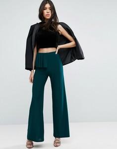 Широкие брюки с рюшами ASOS - Зеленый