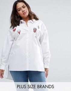 Рубашка со ступенчатым краем и нашивками Alice & You - Белый