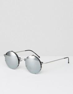 Круглые солнцезащитные очки с серебристыми зеркальными стеклами Spitfire - Черный