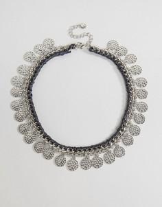 Броское ожерелье с монетками DesignB - Серебряный