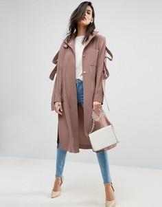 Легкое пальто с отделкой в виде петель на рукавах ASOS - Розовый