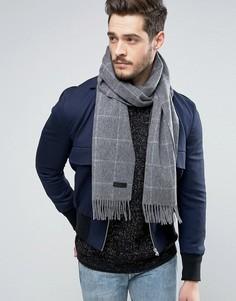 Шерстяной шарф в клетку Jack & Jones - Серый