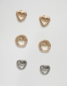 Набор из 3 пар серег Nylon - Золотой