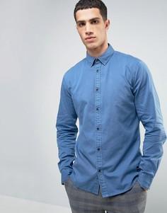 Рубашка классического кроя из ткани шамбре Solid - Синий