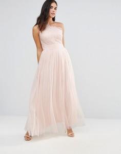 Платье макси с вышивкой и пайетками Little Mistress - Бежевый