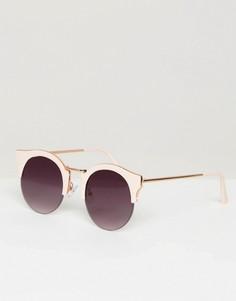 Круглые солнцезащитные очки с плоскими стеклами ASOS - Розовый