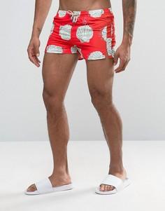 Короткие шорты для плавания с ракушками Oiler & Boiler Tuckernuck - Красный