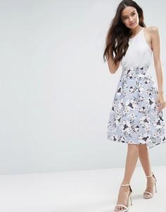 Трапециевидная юбка миди с цветочным принтом Vesper - Синий
