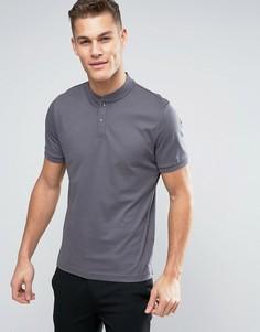 Трикотажная футболка-поло без воротника Calvin Klein - Серый