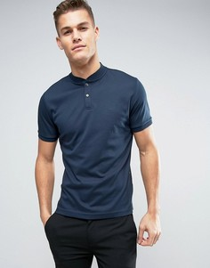 Трикотажная футболка-поло без воротника Calvin Klein - Темно-синий