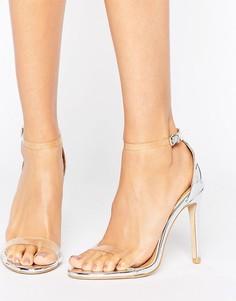 Открытые сандалии на каблуке с прозрачными ремешками Public Desire Daisy - Серебряный