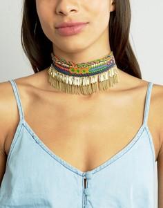 Ожерелье-чокер с кисточкой и вышивкой Glamorous - Золотой