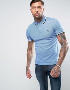 Голубая узкая футболка-поло из пике с двойной окантовкой Fred Perry - Синий