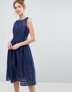 Платье миди с сетчатой отделкой The English Factory - Темно-синий