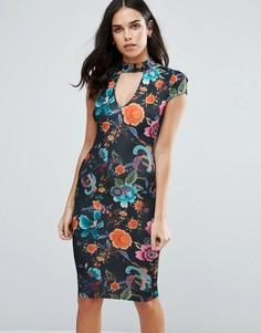 Платье миди с горловиной-чокер и принтом Jessica Wright - Черный
