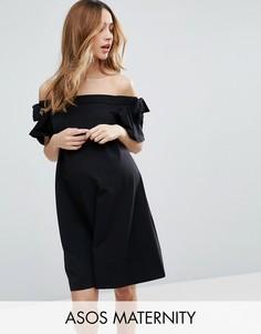 Платье с открытыми плечами и бантиками на рукавах ASOS Maternity - Черный
