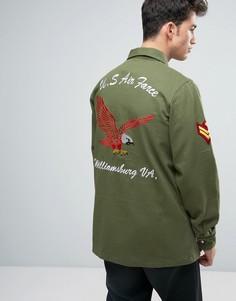 Куртка цвета хаки в стиле милитари с нашивками Liquor & Poker - Зеленый