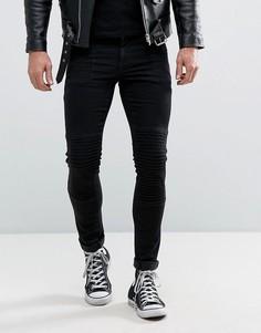 Черные супероблегающие джинсы в байкерском стиле ASOS - Черный