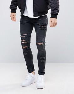 Черные выбеленные джинсы скинни из денима плотностью 12,5 унц ASOS - Черный
