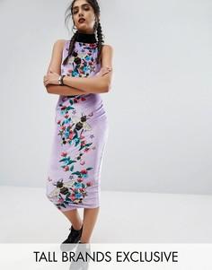 Платье-футляр миди с высокой горловиной и пчелами Jaded London Tall - Мульти