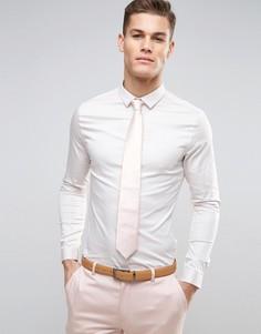 Белая сатиновая свадебная рубашка скинни ASOS - Белый