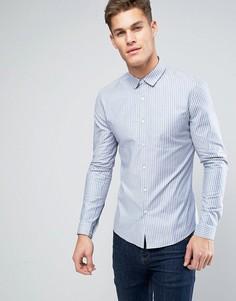 Оксфордская рубашка скинни в голубую полоску ASOS - Синий