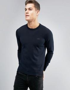 Темно-синий трикотажный джемпер с круглым вырезом и логотипом Armani Jeans - Темно-синий