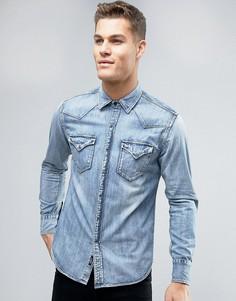 Светлая джинсовая рубашка классического кроя Replay - Синий