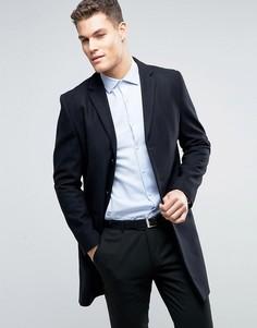 Темно-синее шерстяное пальто New Look - Темно-синий
