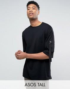 Oversize-футболка с укороченными рукавами и саржевым карманом ASOS TALL - Черный