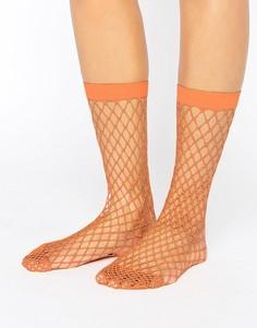 Носки в крупную сетку ASOS - Оранжевый