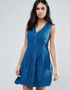 Кружевное короткое приталенное платье Adelyn Rae - Синий