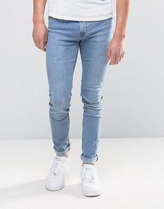 Узкие выбеленные джинсы цвета индиго Hoxton Denim - Темно-синий