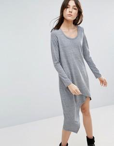 Асимметричное платье с длинными рукавами NYTT - Серый