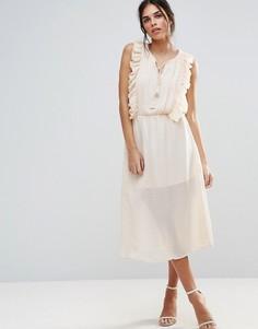 Платье янтарного цвета с оборками d.RA - Кремовый