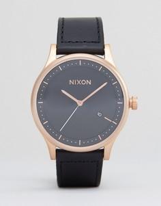 Часы с кожаным ремешком Nixon Station - Черный