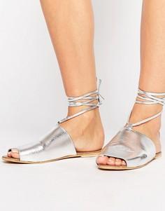 Кожаные сандалии со шнуровкой ASOS FREED - Серебряный